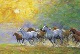 ◆希少品◆1000ピースジグソーパズル:朝陽の中駆る《廃番商品》
