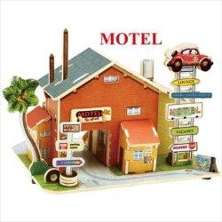 画像1: 3D木製クラフトモデル アメリカスタイル/モーテル