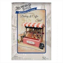 画像1: 3Dパズル フランス-マルシェ ベーカリー&コーヒースタンド