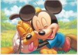 ■ステンドアート266スモールピースジグソーパズル:ミッキーマウス&プルート《廃番商品》